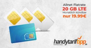 Allnet-Flat & 20 GB LTE & monatlich kündbar für 19,99€ mtl.