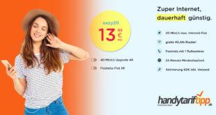 Internet Zuhause - 20 Mbits nur 13,99 Euro und 40 Mbits nur 17,99 Euro