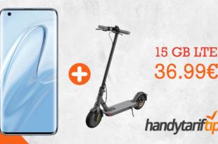 Xiaomi Mi 10 & Xiaomi Mi Scooter 1S E-Scooter mit 15 GB LTE und 100 Euro TravelCheck Reisegutschein oder 25 Euro Caseable Gutschein nur 36,99€ mtl.