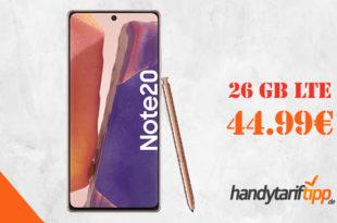Samsung Galaxy Note20 mit 26 GB LTE im Telekom Netz nur 44,99€