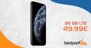 APPLE iPhone 11 Pro mit 26 GB LTE im Telekom oder Vodafone Netz nur 49,99€. Einmalige Zuzahlung liegt bei nur 89 Euro.