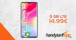 Xiaomi Mi Note 10 Lite & Mi LED Desk Lamp 1S mit 5 GB LTE nur 14,99 Euro monatlich. Einmalige Zuzahlung nur 49 Euro.