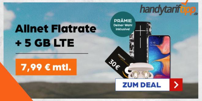 5 GB LTE & Allnet Flat & Zugabe - z.B. 30€ Amazon Gutschein - im Vodafone Netz nur 7,99€ monatlich