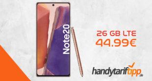 SAMSUNG Galaxy Note20 mit 26 GB LTE nur 44,99 Euro monatlich. Die einmalige Zuzahlung liegt bei nur 116 Euro.