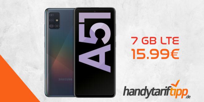 Samsung Galaxy A51 128 GB & Blau Allnet XL mit 7GB LTE nur 15,99€ mtl.