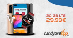 Huawei P40 & FreeBuds 3 oder Watch GT2e oder Matepad T8 mit 20 GB LTE nur 29,99 Euro monatlich.