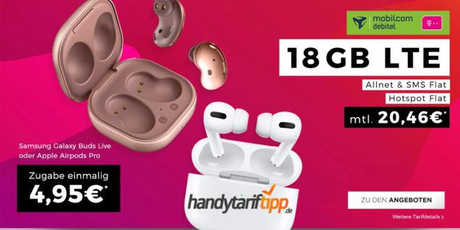 Apple Airpods Pro oder Samsung Galaxy Buds Live oder Samsung Galaxy A41 mit 18 GB LTE im Telekom Netz nur 20,99€ mtl.
