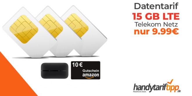 mobilcom-debitel Telekom green Data XL Aktion 15 GB LTE mit Huawei E5576 Mobiler WLAN Hotspot LTE oder 10€ Amazon Gutschein nur 9,99€ mtl.