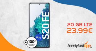 Samsung S20 FE 128 GB & 100€ Samsung Pay Guthaben mit o2 Free M (20 GB LTE bis mit 225 Mbit/s) für 23.99€ monatlich - effektiv umsonst