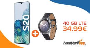 Samsung Galaxy S20 & Samsung Galaxy Watch3 41mm LTE mit 40 GB LTE nur 34,99€ monatlich
