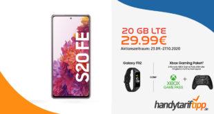 Samsung Galaxy S20 FE 128GB & Galaxy Fit2 oder Xbox Gaming Paket mit 20 GB LTE nur 29,99€