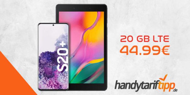 Samsung Galaxy S20Plus [S20+] & Samsung Galaxy Tab A 8.0 WiFi mit o2 Free M (20 GB LTE mit 225 Mbit/s) für 44,99€ mtl.