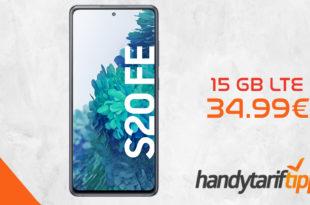 Samsung Galaxy S20 FE inkl. 15 GB Allnet Flat + 50€ Amazon-Gutschein nur 34,99€ monatlich. Einmalige Zuzahlung liegt bei nur 29 Euro.