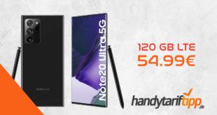 Samsung Galaxy Note20 Ultra 5G mit 120 GB LTE nur 54,99€ monatlich. Einmalige Zuzahlung liegt bei nur 4,95 Euro.