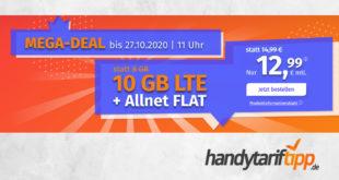 10 GB LTE & FLAT Minuten und SMS & ohne Vertragslaufzeit nur 12,99€