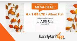 7 GB LTE & Allnet Flat & ohne Vertragslaufzeit für nur 7,99€ mtl.