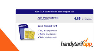 ALDI TALK Starter-Set Basis-Prepaid-Tarif mit 10,- € Startguthaben nur einmalig 4,85€
