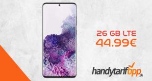 SAMSUNG Galaxy S20+ [S20Plus] mit 26 GB LTE nur 44,99€ mtl. Einmalige Zuzahlung liegt bei nur 77 Euro.