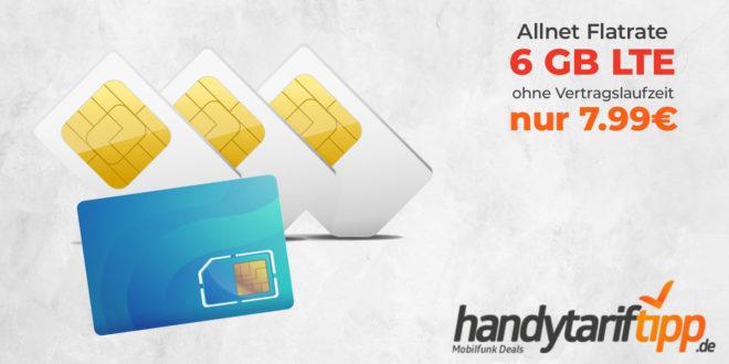 AKTION bis 25.10.2020 - 6 GB LTE & Allnet Flat ohne Vertragslaufzeit nur 7,99€