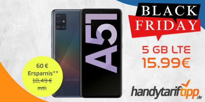 Samsung Galaxy A51 mit 5 GB LTE nur 15,99€ monatlich