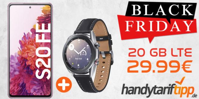 BLACK FRIDAY MEGA DEAL! Samsung Galaxy S20 FE & Samsung Galaxy Watch3 LTE mit 20 GB LTE nur 29,99€ - Tarif effektiv kostenlos