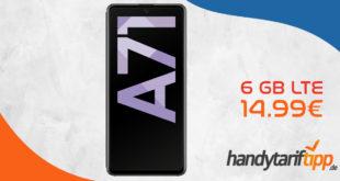 Samsung Galaxy A71 mit 6 GB LTE nur 14,99€ monatlich.