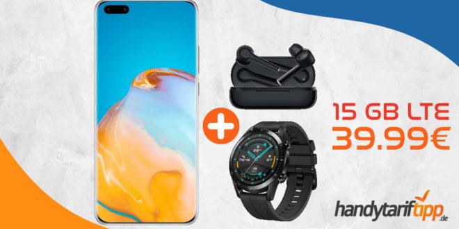HUAWEI Huawei P40 Pro & Huawei FreeBuds 3i & Huawei Watch GT mit 15 GB LTE nur 39,99€ monatlich