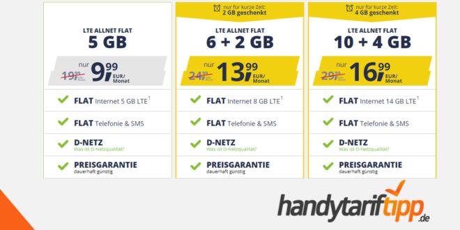 ALLNET FLAT - MONATLICH KÜNDBAR im Vodafone Netz: 5GB LTE nur 9,99€ - 8GB LTE nur 13,99€ und 14GB LTE nur 16,99€ monatlich