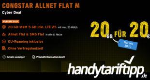 CyberTastisches Angebot bei congstar: Allnet Flat M mit 20 GB LTE im Telekom Netz für 20€ monatlich - auch ohne Laufzeit
