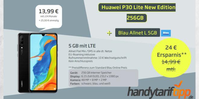 Huawei P30 Lite New Edition 256GB mit 5 GB LTE nur 13,99€