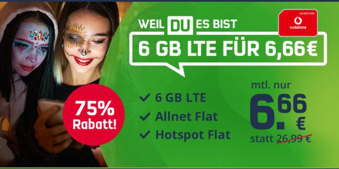 6 GB LTE Allnet Flat im Vodafone-Netz für nur 6,66€