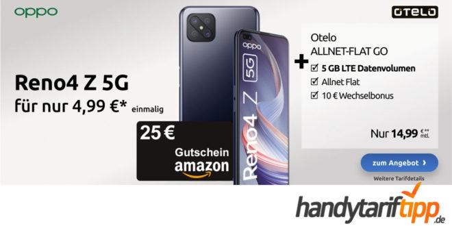 Oppo Reno4 Z 5G (128 GB) für 4,99€ Zuzahlung & 20€ Amazon Gutschein mit otelo Allnet-Flat Go (5 GB LTE) für 14,99€ monatlich
