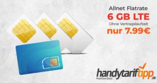 6 GB LTE & Allnet Flatrate - Ohne Vertragslaufzeit - für nur 7,99 € mtl.