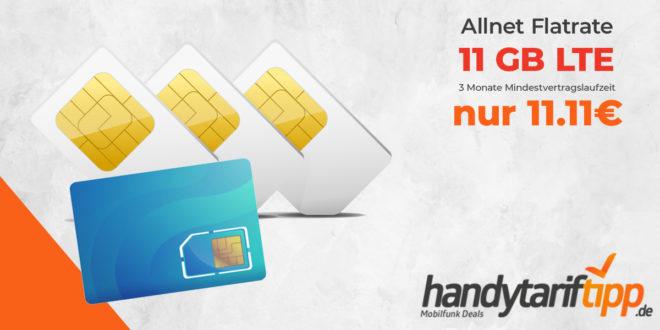 11 GB LTE & Allnet Flat - nur 3 Monate Mindestvertragslaufzeit - nur 11,11€ mtl.