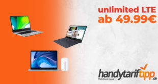 Notebook mit Vertrag O2 Free Unlimited Max - MacBook Air 13 - Samsung Galaxy Book S - Acer Aspire 3
