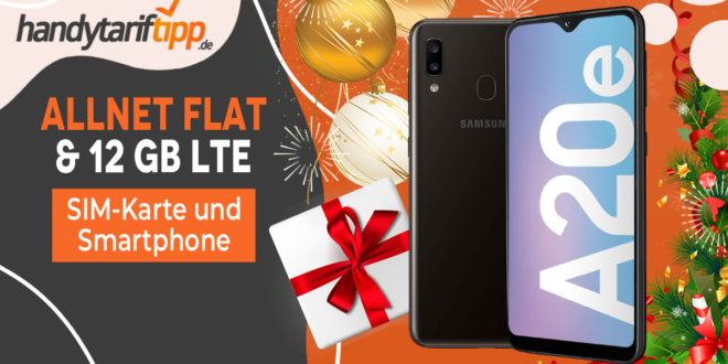 Prepaid Jahrespaket mit 12 GB LTE + Allnet-Flat inkl. Samsung Galaxy A20e nur 149,99€