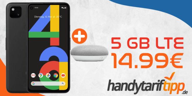 Google Pixel 4a (128 GB) für 49€ Zuzahlung & Google Home Mini mit otelo Allnet-Flat Go (5 GB LTE ) für 14,99€ monatlich