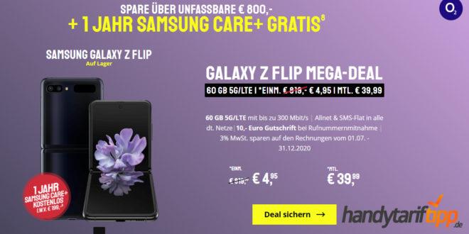 Samsung Galaxy Z-Flip 4G (256 GB) für 4,95€ Zuzahlung & 12 Monate Samsung Care+ mit o2 Free L (60 GB LTE ) für 39,99€ monatlich - Effektivpreis => -1,85 € monatlich