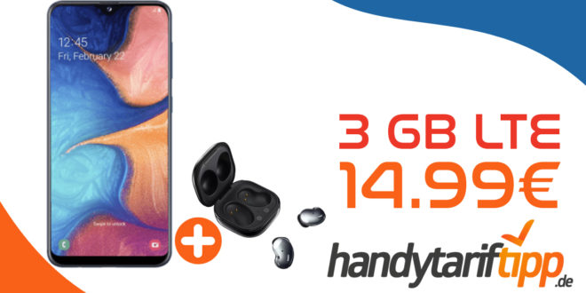 Samsung Galaxy A20e & Samsung Galaxy Buds mit 3 GB LTE nur 14,99€ monatlich
