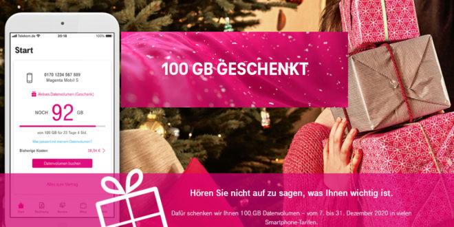 Telekom Weihnachtsgeschenk: Mobilfunk-Kunden erhalten 100 GB LTE Datenvolumen kostenlos