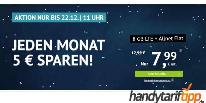 8 GB LTE & Allnet Flat & monatlich kündbar nur 7,99€ monatlich