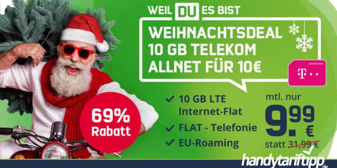 WEIHNACHTSDEAL! Telekom 10 GB LTE Allnet Flat für 9,99€