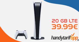 Sony PlayStation®5-Digital Edition mit 20 GB LTE für 39,99€ monatlich