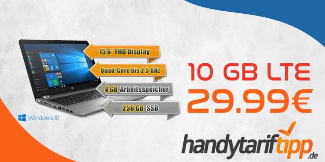 Notebook HP 250 G6 15,6 Zoll mit Handyvertrag & 10 GB LTE für 29,99€ monatlich.