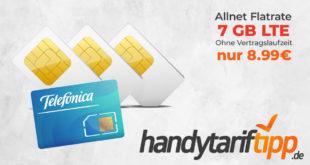 Ohne Vertragslaufzeit - 7GB LTE & Allnet nur 8,99€ monatlich