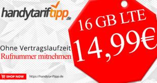 16 GB LTE & Allnet Flat ohne Vertragslaufzeit nur 14,99€ monatlich