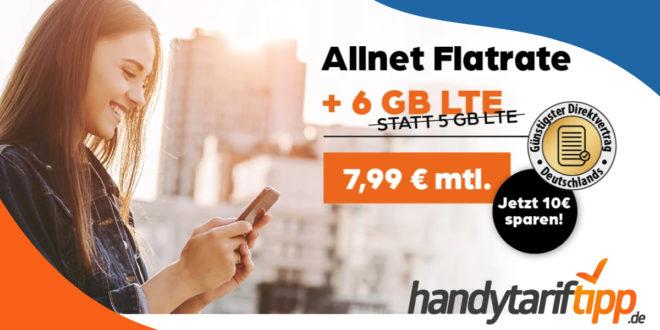 6 GB LTE Datenvolumen im Vodafone-Netz nur 7,99€ monatlich + 50€ Gutschrift bei Rufnummernmitnahme