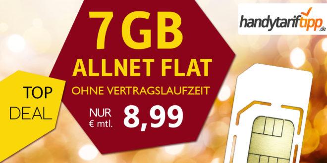 Allnet-Flat 7 GB LTE & ohne Vertragslaufzeit nur 8,99€ monatlich