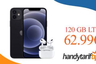 Apple iPhone 12 mit AirPods Pro mit Vertrag O2 Free L Boost mit 120 GB LTE für 62,99€ monatlich