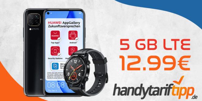 HUAWEI P40 lite & Huawei Watch GT mit 5 GB LTE nur 12,99€ monatlich